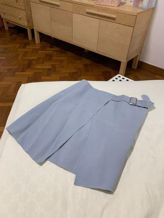 🚚 Light Blue Asymmetrical Skirt