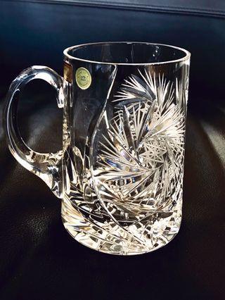Ruckl hand cut Bohemia crystal mug