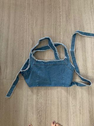 Cropped denim top with tie back