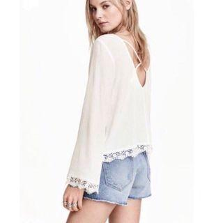 H&M coachella white long sleeve crochet top