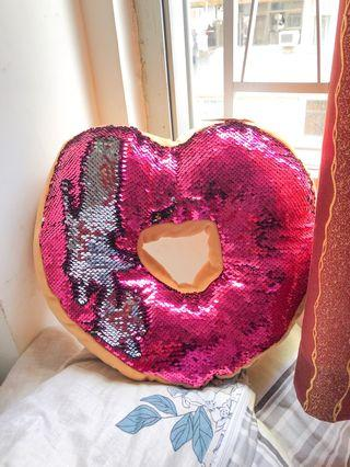 Double sequin pink and silver cushion