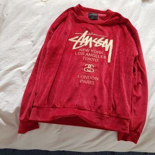 Stussy Ladies Red Velvet Pullover
