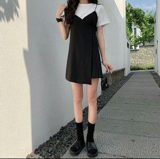 (PO) 2 Colours - Simplistic V Neck Dress