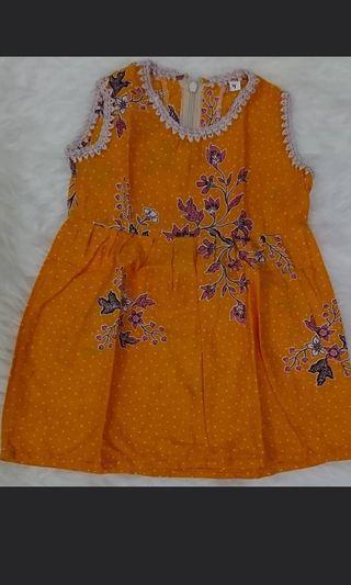 Dress Anak orange orens batik