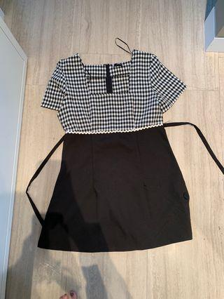 Half gingham half black dress