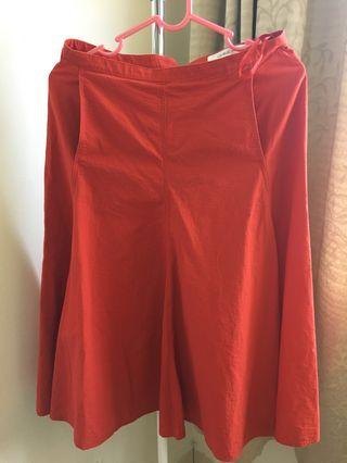 Uniqlo X Lemaire Red Orange High Waisted Skirt with Pockets