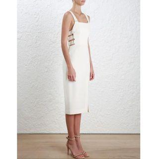 ZIMMERMANN PEARL STRETCH CREPE SIDE BUCKLE DRESS *BRAND NEW* 2 10 12 RRP $495