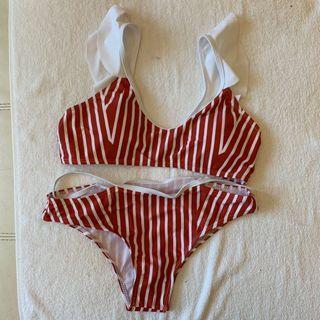 Cute red striped Bikini Swimsuit