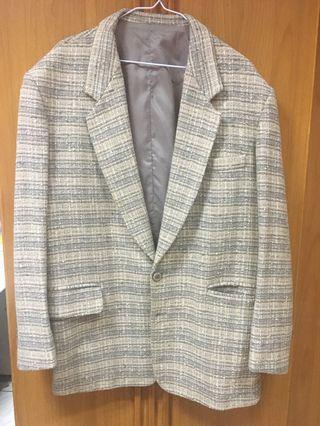 古著格紋 西裝外套 大衣