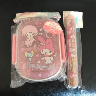 Sanrio My Melody Lunch / Bento Box and Chopsticks Set
