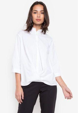 Poplin Drape front Blouse top white with collar 3/4 sleeves
