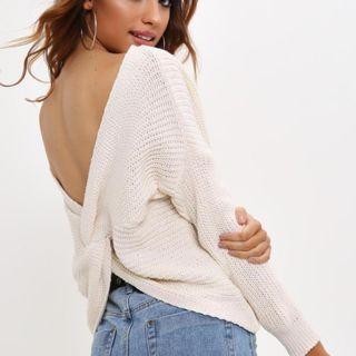 Bardot Twist Back Knit Top/Jumper