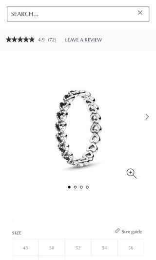 Pandora linked love ring size 54