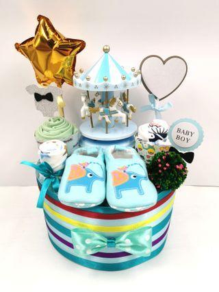 Diaper Cake Carousel Baby Boy Hamper