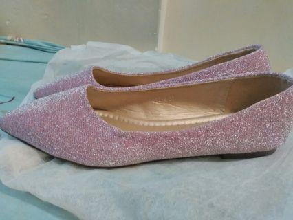 粉紅銀色平底鞋, pink silver, size 37, brand new