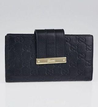 Authentic Gucci Black Guccissima Leather Long Wallet