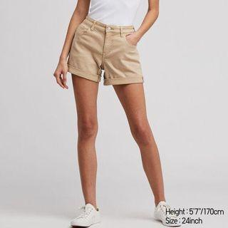 Uniqlo Mid Rise Roll-Up Denim Shorts in Beige