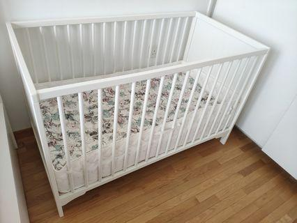 Ikea Baby cot SOLGUT, white, really good condition