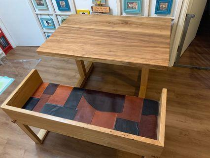 Solid wood dining table and bench set