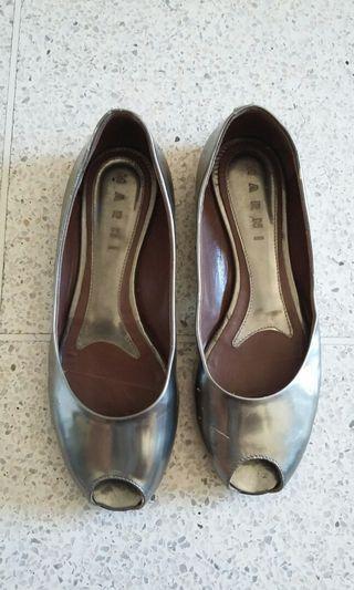 Marni silver women's peep toe flats