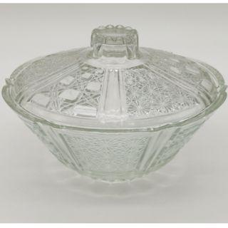 1970s Pressed Glass Candy Dish with Lid