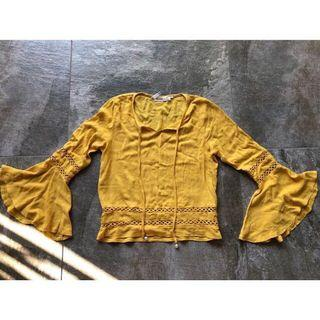 Yellow swing sleeve top size S