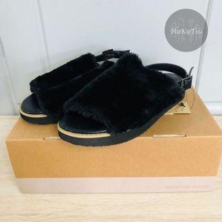 (現貨)日本NA黑色毛毛涼鞋