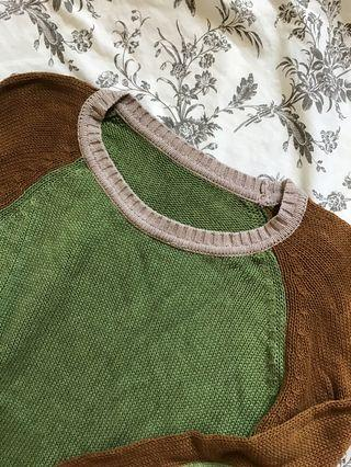 Knit green brown top