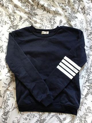 Navy jumper with stripes