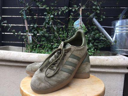 Limited edition olive green with gum sole adidas gazelles