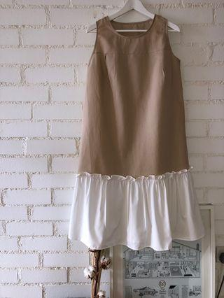 Drop Waist Dress beige white linen dress