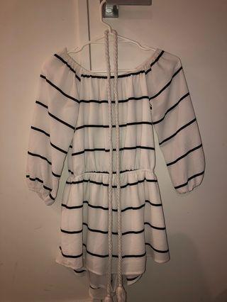 Black white striped off shoulder dress