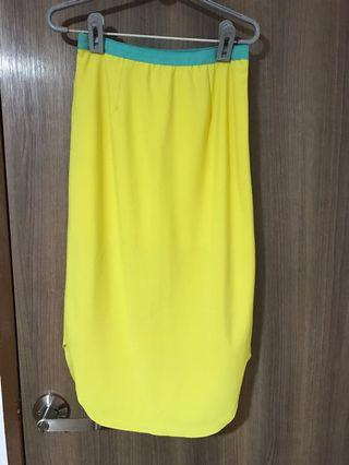 Neon Yellow Midi Skirt