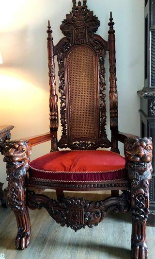 1 Pair of Antique Huge Throne Chair