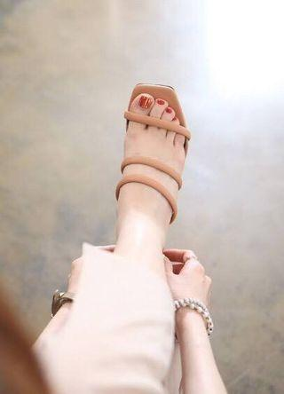 轉售 韓國空運Korea 時尚質感 三繫帶造型方頭粗跟鞋/高跟涼鞋 棕色36號現貨