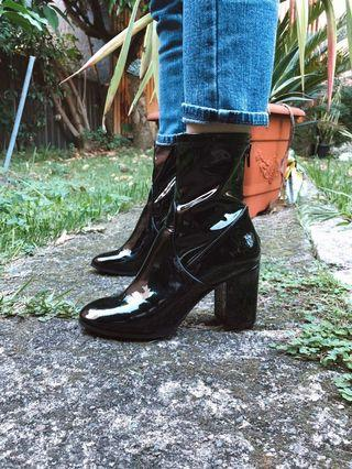 Patent Leather Look Boots