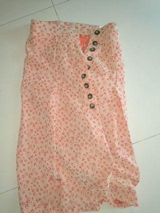 Vintage butterfly button down skirt