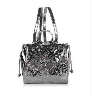 🚚 LOVE MOSCHINO Embossed Metallic Silver BagPack