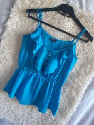 Blue sleveless top forever 21 inspired