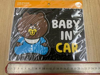 LINE car sticker #BABY IN CAR from Korea