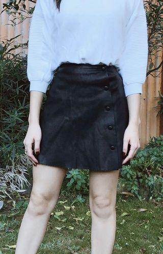 Faux Leather Button Up Skirt