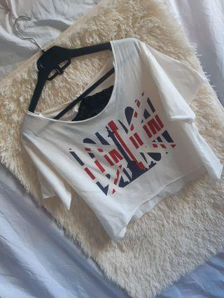 White lace hanging crop top