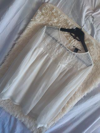 H&m white formal top longsleeve