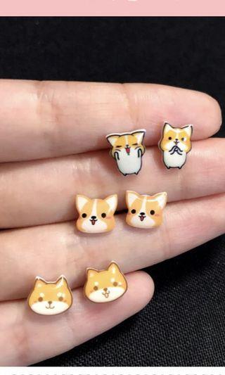 BN PO Super Cute Corgi Dog Earring Ear Stud