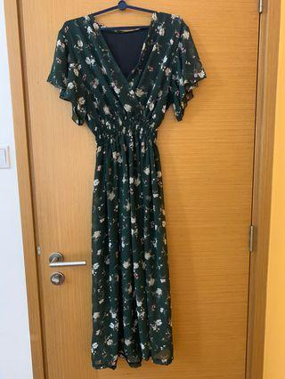 Forest Green Floral Maxi Dress