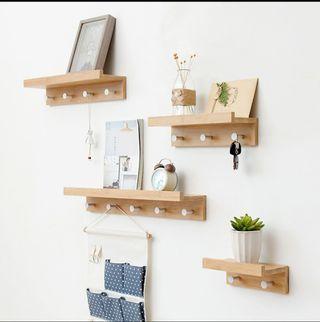 Wood wall shelf with hook rack