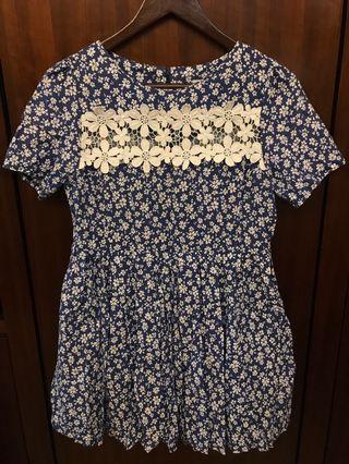 Aland blue floral top dress 藍色 碎花 上衣 裙