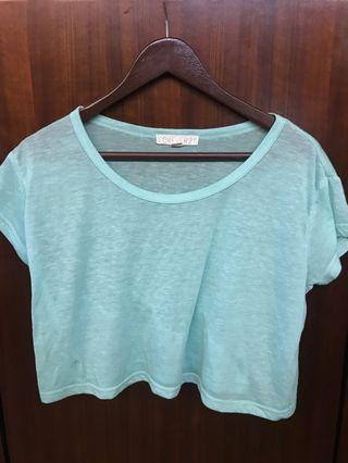 Forever 21 Tiffany blue crop top 淺綠色上衣