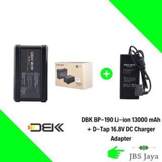 DBK BP-190 Li-ion 13000 mAh 190Wh V Mount Battery for Sony Video Camcorder/LED Ligh with D-Tap 16.8V DC Charger Adapter