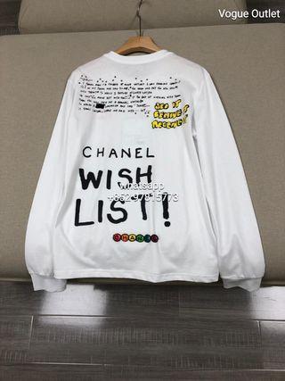 Chanel X Pharrell Capsule Collection White Long Sleeve Graffiti Tee Shirt RARE M